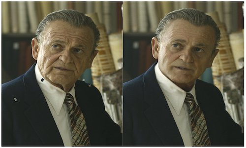 Side-by-side images of actor Joe Pesci illustrate how digital effect erase years off his face.